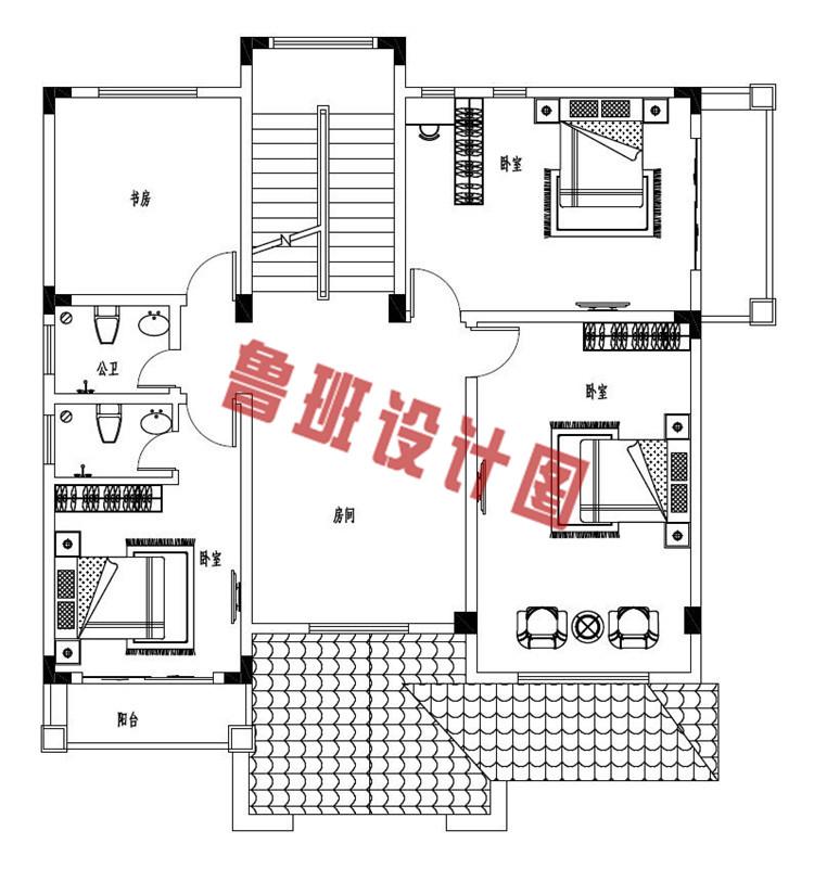 最新农村三层别墅全套设计二层户型图