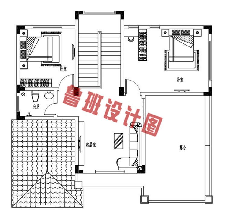 最新农村三层别墅全套设计三层户型图