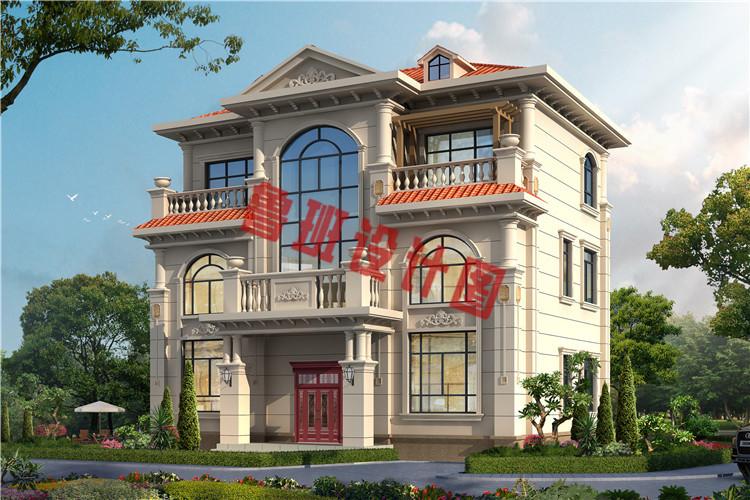 新款带电梯设计乡村轻奢简欧式三层别墅设计效果图