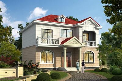 11X10米新农村实用二层小别墅自建房设计户型图效果图,外型精美