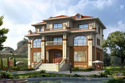 带堂屋农村三层别墅房屋设计施工图,含效果图片,带地下室