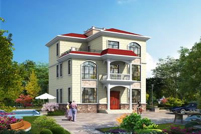 130平方米三层复式别墅自建房设计图,外观精致美观