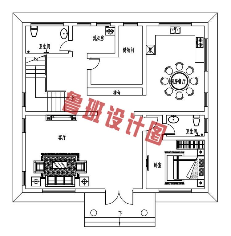 130平方米三层复式别墅设计一层户型图