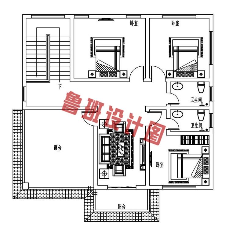130平方米三层复式别墅设计三层户型图