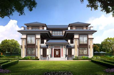 乡村三层四合院别墅设计全套施工图效果图,自建房户型,带电梯