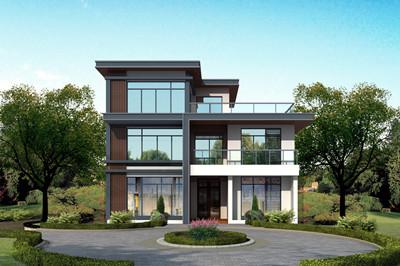 平屋顶现代风格小洋楼房,农村三层小户型别墅设计图