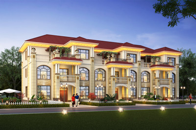 新款欧式农村三拼三户联排别墅设计图,含自建房屋施工图效果图