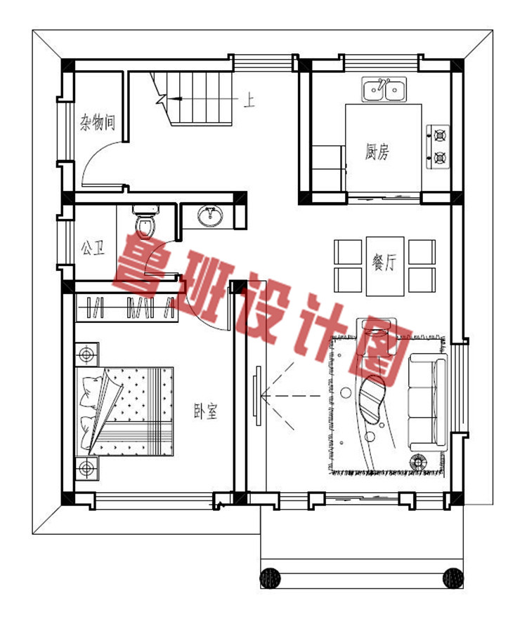 农村小户型三层别墅设计一层户型图