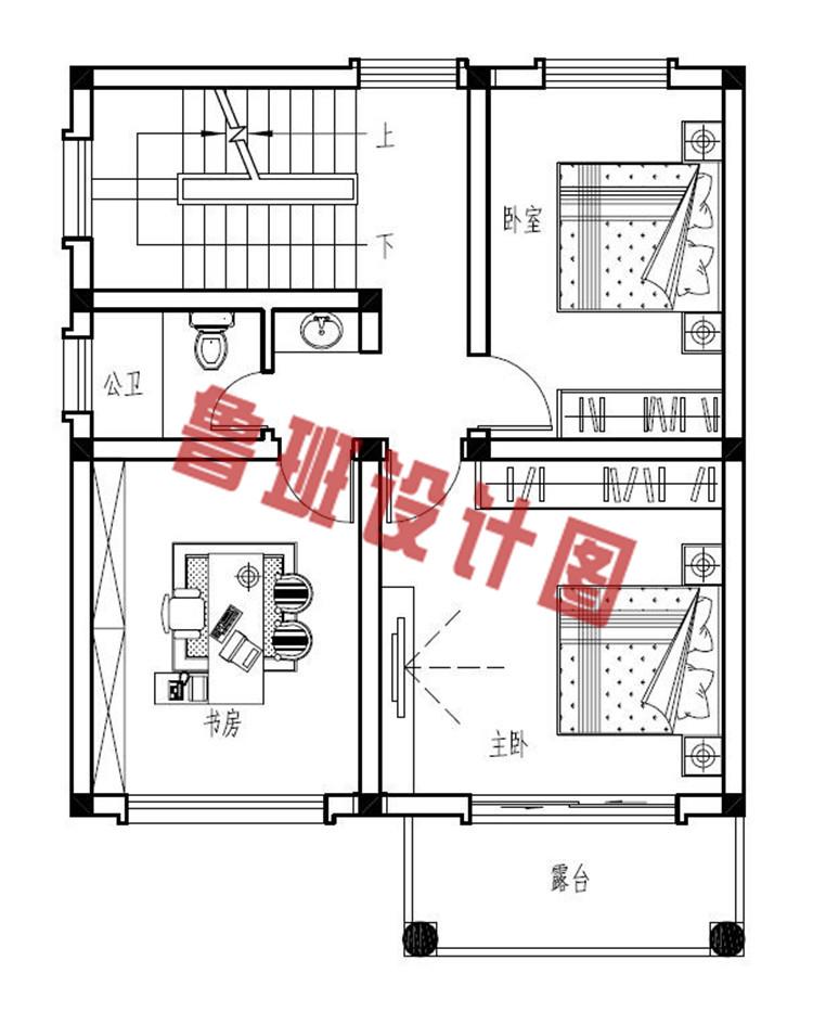 农村小户型三层别墅设计二层户型图