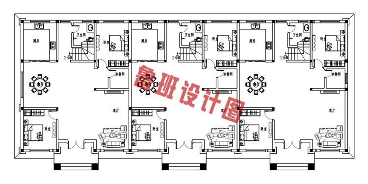 2019新款欧式农村三拼三户别墅设计一层户型图