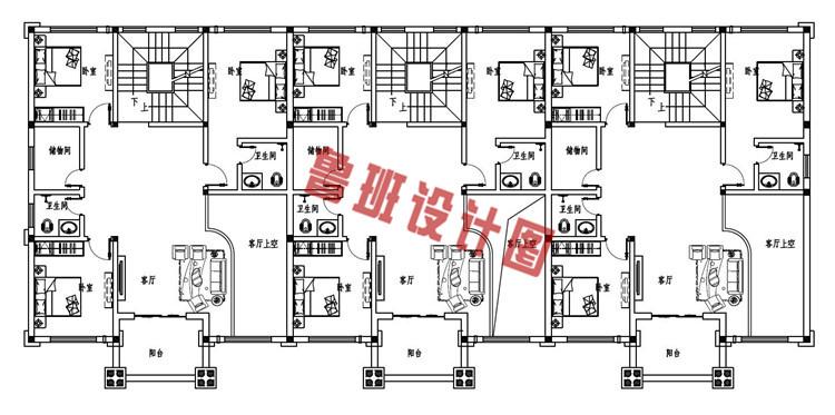 2019新款欧式农村三拼三户别墅设计二层户型图