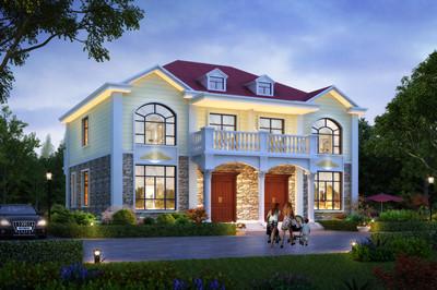 小户型经济乡村二层兄弟双拼楼房别墅设计图,典型的大气欧式风