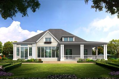 新式农村一层带阁楼房子别墅设计图方案,现代田园风格