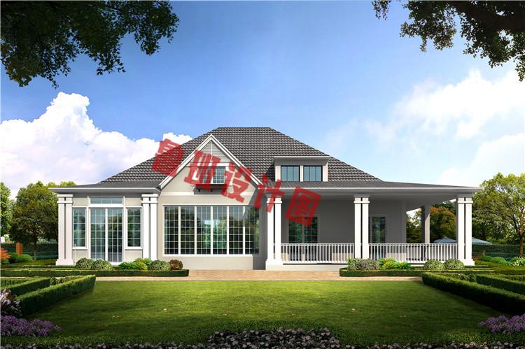 新式农村一层带阁楼别墅设计效果图