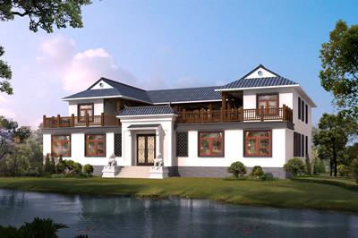 大户型中式二层四合院别墅设计施工图效果图,外观沉稳大气