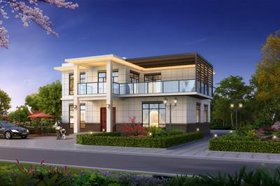 带院子现代简约二层农村小别墅设计图,庭院DIY布局