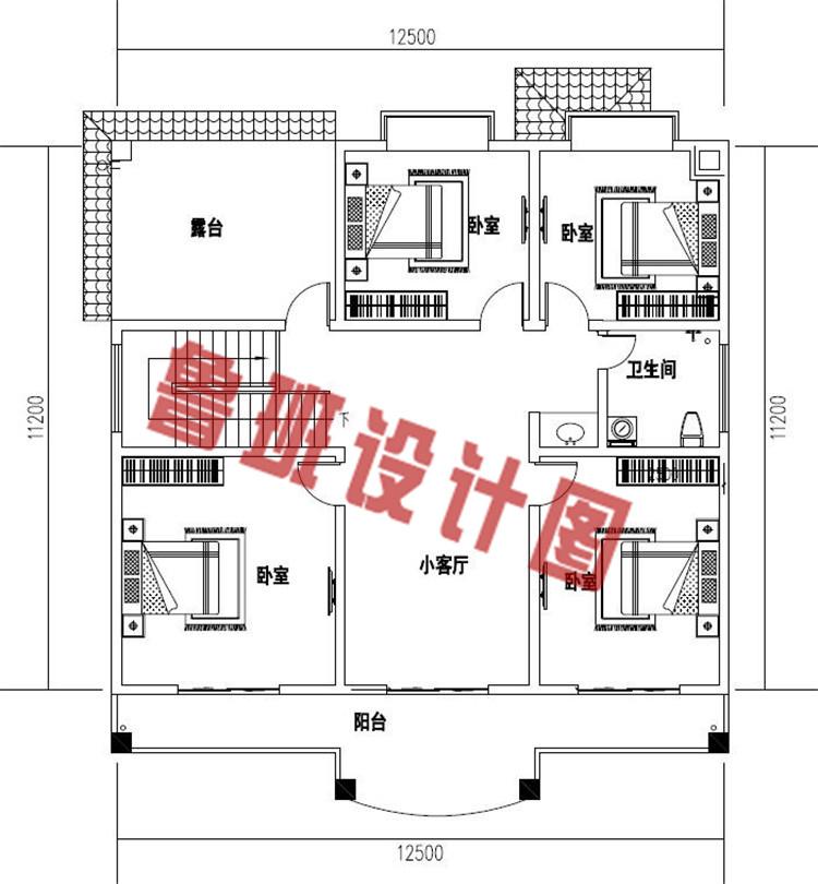 私人订制最新二层别墅设计二层户型图