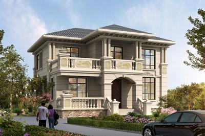 120平方米带露台二层欧式别墅图片及设计户型图,外观典雅大方