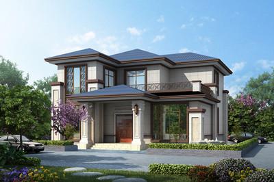 新中式150平方米乡村二层小楼房图片及别墅设计图,外观典雅古朴