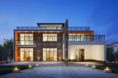 超现代风格二层精致小别墅设计图,占地190平方米