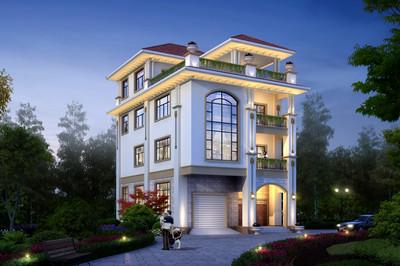 一层带商铺农村自建别墅设计图,四层户型挑空复式带凉亭