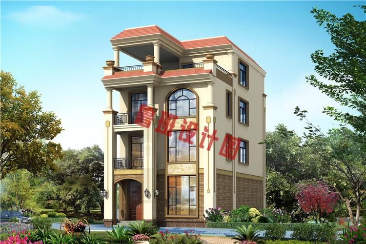 带大露台+凉亭平屋顶四层自建别墅设计效果图