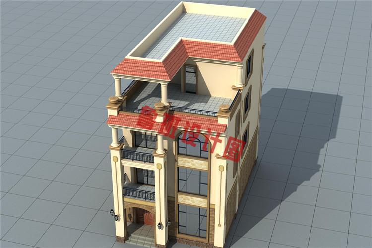 带大露台+凉亭平屋顶四层自建别墅设计鸟瞰图