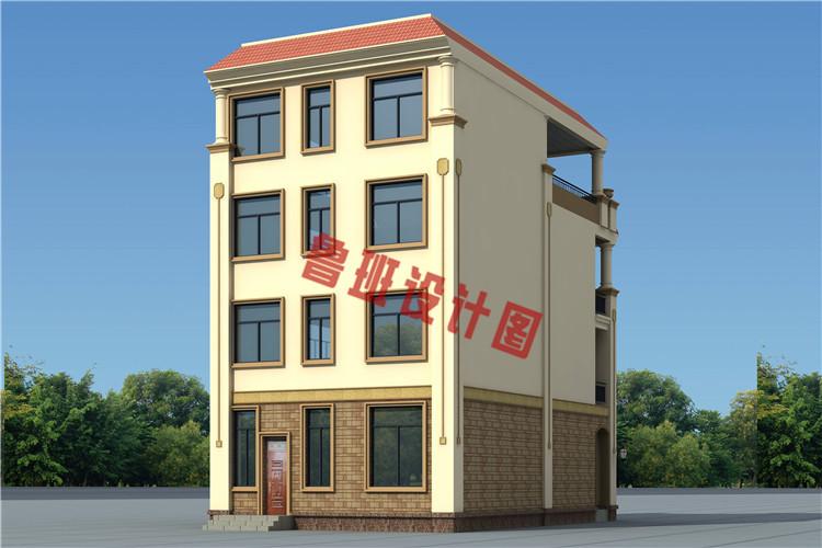 带大露台+凉亭平屋顶四层自建别墅设计侧面图