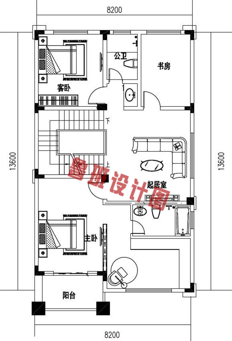 带大露台+凉亭平屋顶四层自建别墅设计二层户型图
