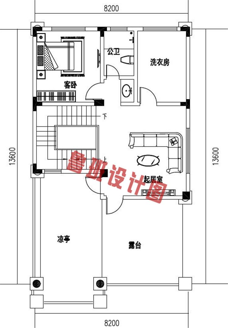带大露台+凉亭平屋顶四层自建别墅设计四层户型图