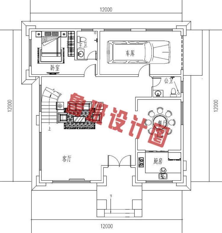 复式带车库四层别墅设计一层户型图