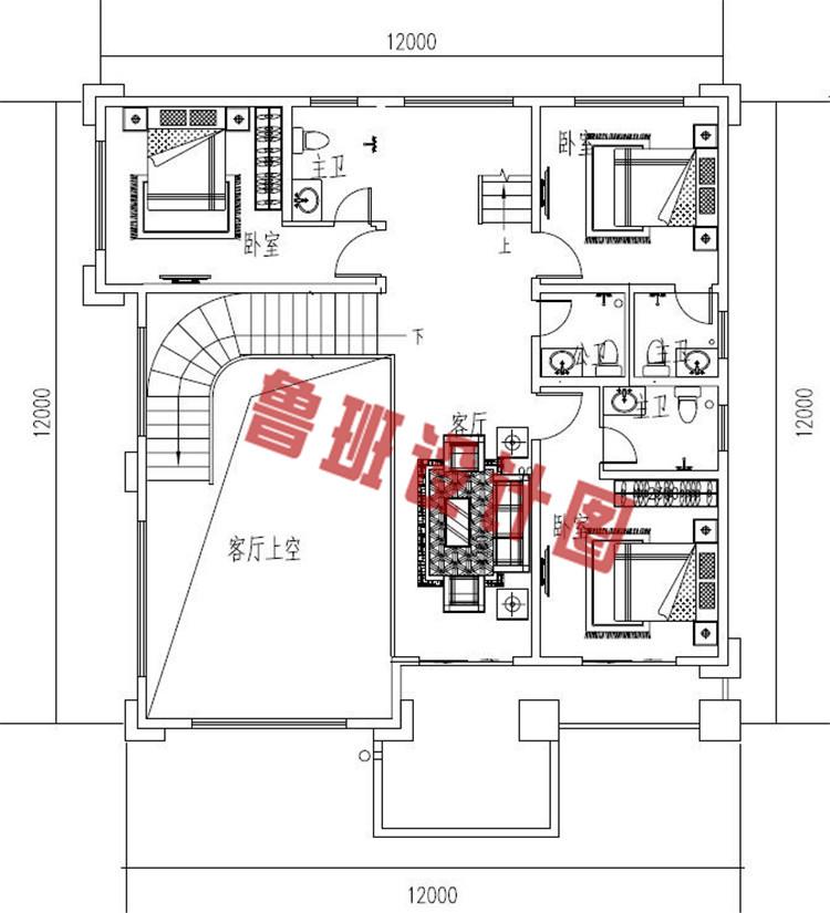 复式带车库四层别墅设计二层户型图