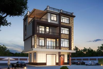 农村四层带车库超现代别墅设计图效果图,平屋顶外观简约时尚