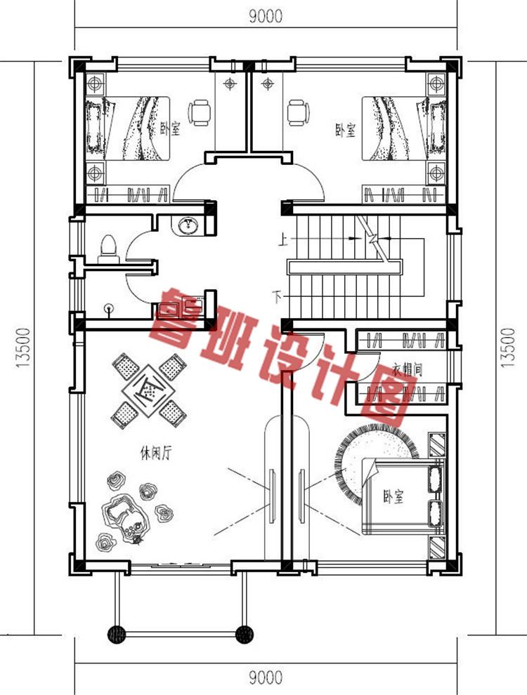 简欧式三层农村自建别墅设计二层户型图