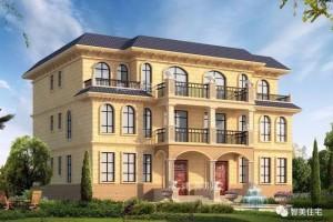 宽17米双拼别墅效果图,欧式风格设计。