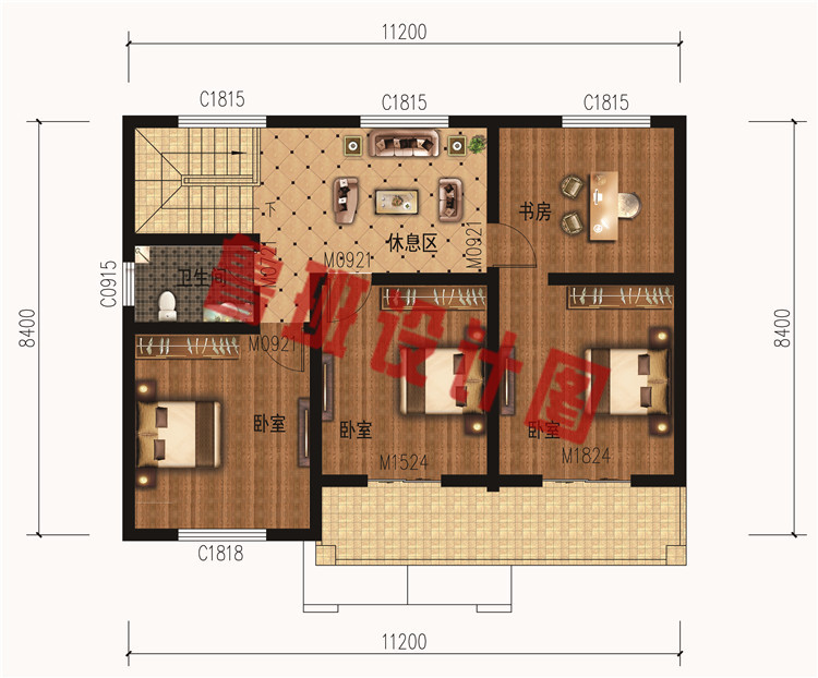 13万-18万二层新中式小楼设计二层户型图