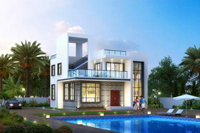 现代二层私人别墅设计图平屋顶楼房方案,户型简约时尚