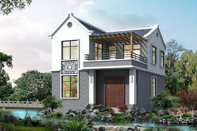 古朴独栋乡村二层别墅设计图,江南风格尖屋顶设计