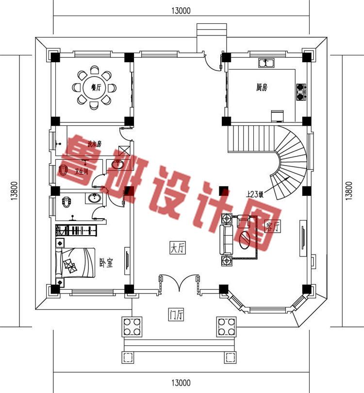 农村三层复式自建房别墅设计一层户型图