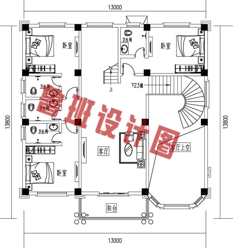 农村三层复式自建房别墅设计二层户型图