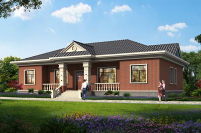 新款乡村五间一层平房自建别墅设计图户型图