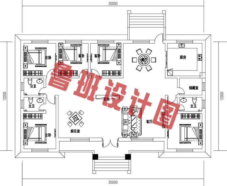 最新款乡村一层自建别墅设计一层户型图