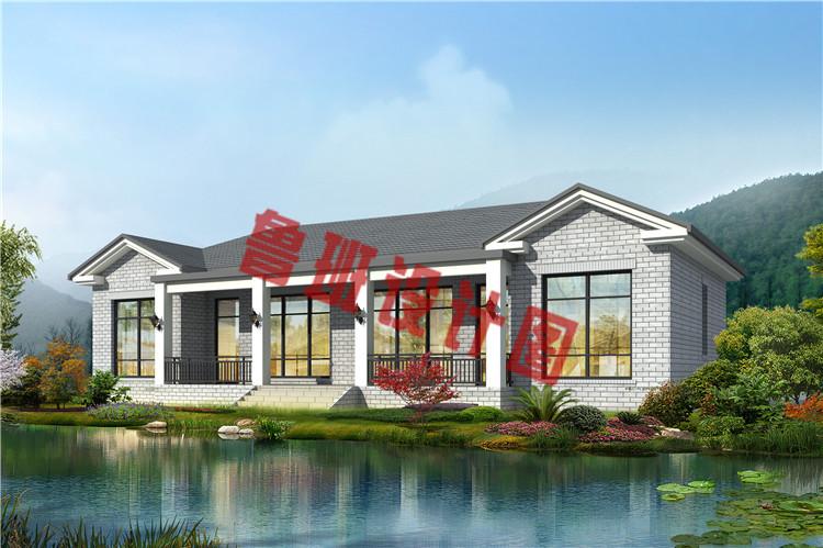 新款农村一层双拼别墅设计效果图