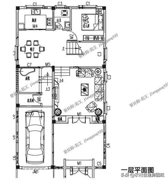 8m×14.8m农村中式别墅,外观新颖打破传统,居然还设有车库