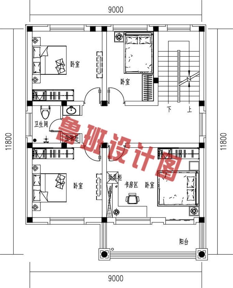 简约大气小户型三层欧式别墅设计二层户型图