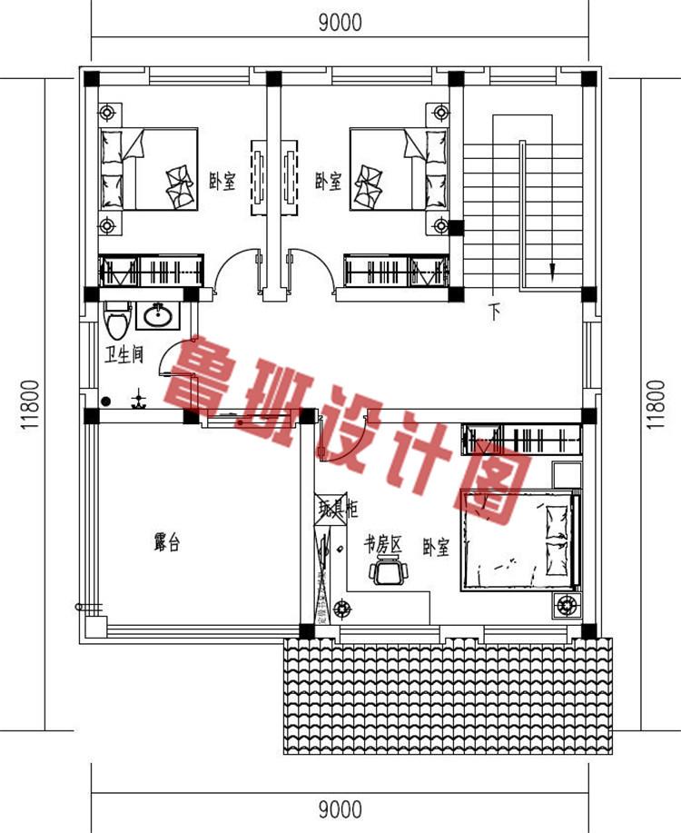 简约大气小户型三层欧式别墅设计三层户型图