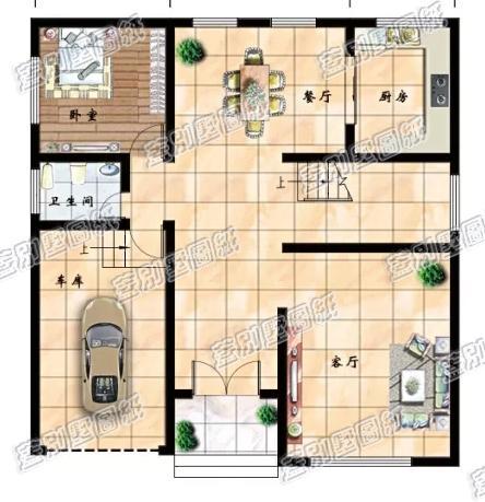 预算30万以内的层房屋怎么设计更实用漂亮?带车库+挑空客厅户型