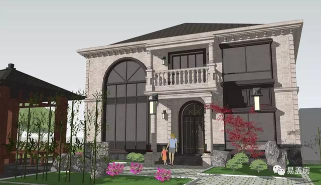 二层挑空欧式别墅,19年建房新款