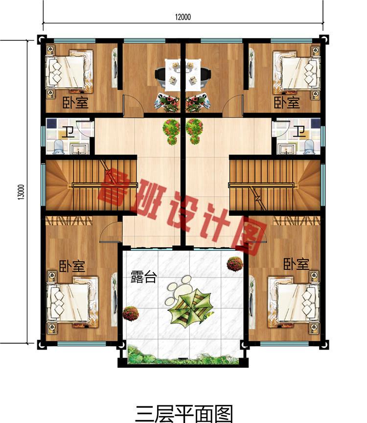 精美三层双拼自建房设计图,外观符合中国人喜好