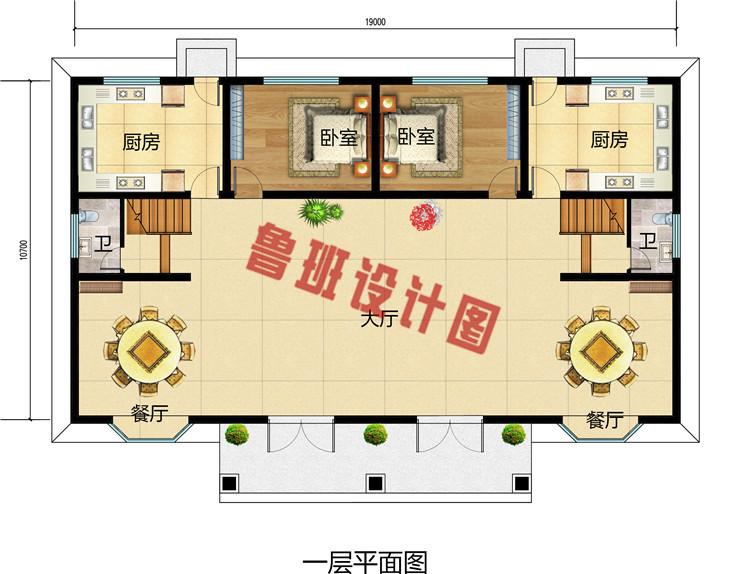 农村二层半双拼别墅推荐设计图,时尚的外观设计